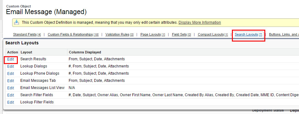 Add Delete to EM Global Search layout Search layout Edit
