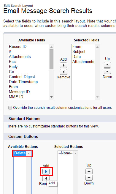 Add Delete to EM Global Search layout Select Delete move