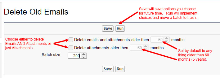 Delete Old Emails screen with red guidance text