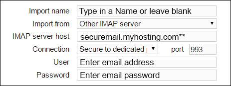 IMAP settings myhosting