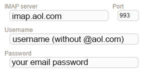 New Sign up IMAP aol