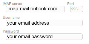 New Sign up IMAP hotmail