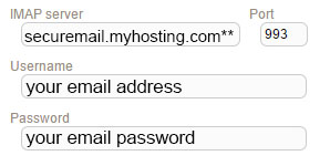 New Sign up IMAP myhosting