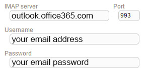 New Sign up IMAP office365