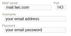 New Sign up IMAP twc roadrunner