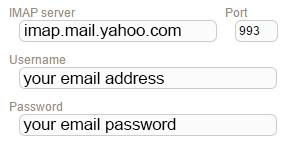 New Sign up IMAP yahoo