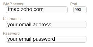 New Sign up IMAP zoho
