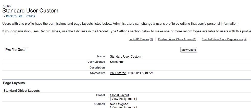 Profile: Standard User Custom ~ Salesforce - Enterprise Edition