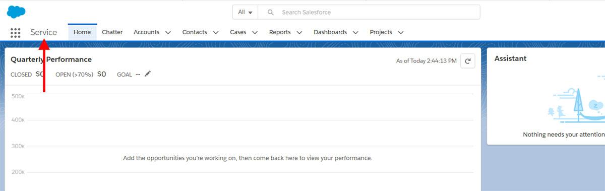 Salesforce Applauncher Showing Service