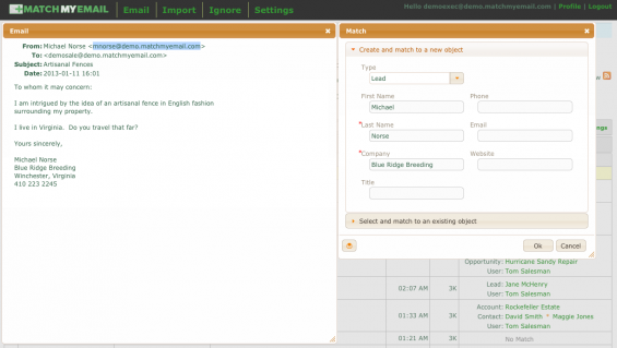 The easiest way to create a new Salesforce.com object directly from email information