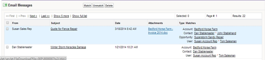 Salesforce Email Attachment for Google, Match My Email